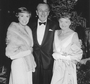 Mary Poppins author DL Travers with Walt Disney and Julie Andrews