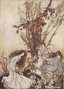 Bailando con las Hadas.Ilustración de Arthur Rackham para el libro Peter Pan