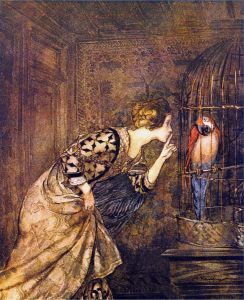 Arthur Rackham ~ Mary Colven and the Parrot ~ from Some British Ballads