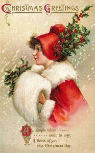 Tarjeta de felicitación navideña vintage