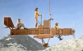 Pippi Calzaslargas y sus amigos volando hacia la aventura