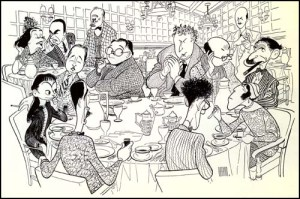 Ilustración de Al Hirschfeld Clockwise.Mesa Redonda del Algonquin de izquierda a derecha: Robert E. Sherwood, Dorothy Parker, Robert Benchley, ...