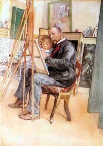 El pintor Carl Larsson en su estudio con su hija