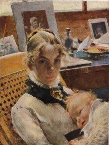 Karin Bergöö con su hija Suzanne  en 1.885