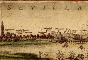 """Detalle de un grabado de Sevilla de la segunda mitad del siglo XVI, recogido en la obra """"Civitatis Orbis Terrarum"""""""