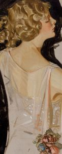 JOSEPH CHRISTIAN LEYENDECKER- Retrato de una joven mujer