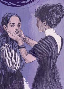 Catherine y su tía. ilustración de Jonny Ruzzo