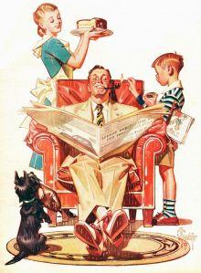 Hogar dulce hogar. Arte por J.C. Leyendecker