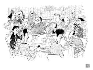 La mesa redonda del Algonquin- caricatura de Al Hirschfeld